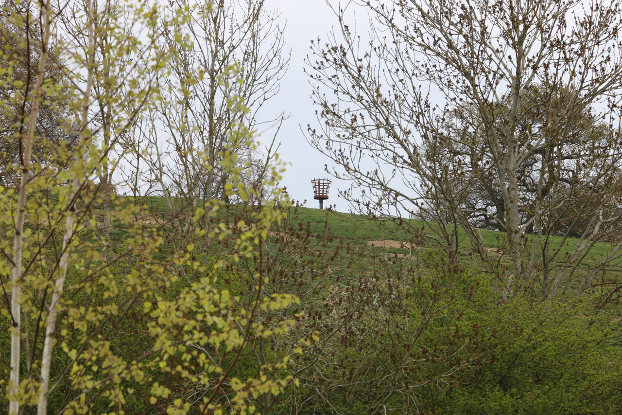 View from Under Crick Hill of fire beacon on top of Cracks Hill, Spring 2015